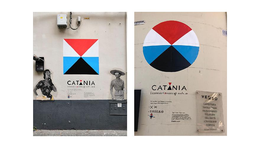 Murales del simbolo indipendente di catania realizzati in giro per la città